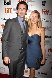 Jennifer Westfeldt's black frame clutch and blue strapless dress at the premiere of 'The Town' were a very classy pairing.