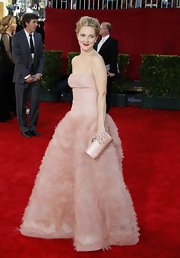 """This satin """"Drew"""" clutch is died to perfectly match Drew's pink Cindarella gown."""