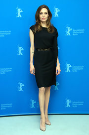 Angelina Jolie looked divine in this draped asymmetrical cocktail dress for the Berlin Film Festival.