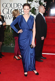 Emily Deschanel wore this asymmetrically draped blue evening dress to the Golden Globes.