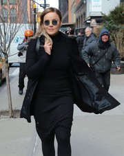 Abbie Cornish paired a black cutout pencil skirt with a matching turtleneck for a day out in New York City.