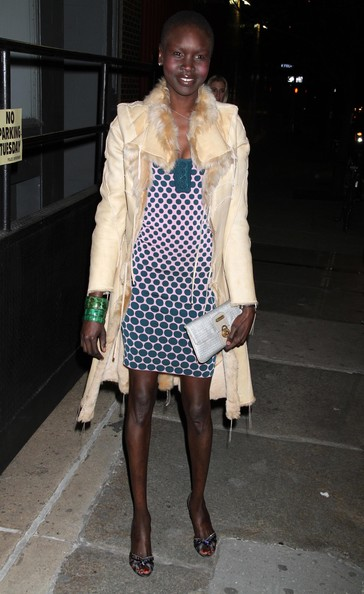 Alek Wek Leather Coat