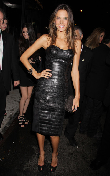 Alessandra Ambrosio Leather Dress