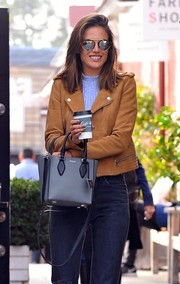 Alessandra Ambrosio stepped out for coffee looking stylish in a pair of mirrored shades.