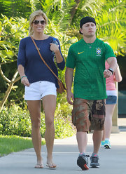 Torrie showed off her fabulously fit legs in a pair of white shorts on a leisurely stroll around Miami.
