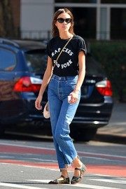 Alexa Chung capped off her laid-back outfit with a pair of embroidered Mary Janes.