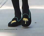 Alexa Chung looked, well, smokin' in these palm-tree embellished slippers.