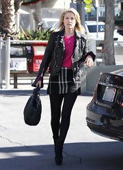 Ali Larter was girly punk in this plaid mini and moto jacket while stopping to pump gas in LA.