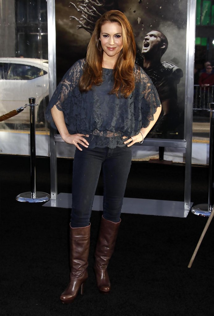 Alyssa Milano Knee High Boots Alyssa Milano Boots Looks