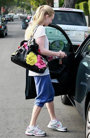 Amanda Seyfried showed off her leather floral bag while hitting the Gym in West Hollywood.