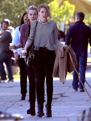 Amber Heard was spotted out in Los Feliz wearing a long-sleeve striped tee and skinny jeans.