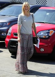Amy paired this boho prairie skirt with a casual tee for a super relaxed look while out in Hollywood.