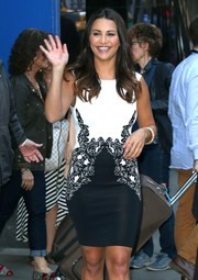 Andi looked lovely in this black and white cocktail dress for her appearance on Good Morning America.