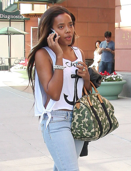 Angela Simmons Printed Bowler Bag