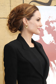Angelina Jolie wore her hair in an updo featuring lots of texture at the American Cinematheque's Foreign-Language Nominee Series.