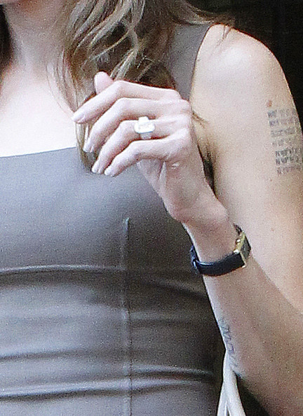 Angelina Jolie showed off her newly accessorized ring finger while out and about in LA.