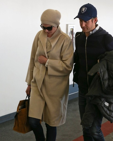 Anne Hathaway and Adam Shulman at LAX