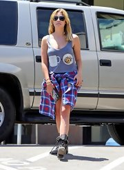 Ashley Benson rocked her signature grungy look with this gray tank.