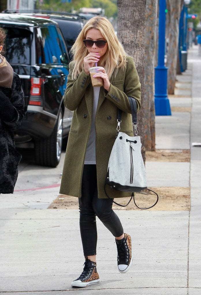 Ashley Benson S Army Green Coat And Leopard Lace Ups You