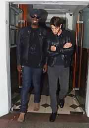 Iddo Goldberg looked sleek in classic denim jeans with a gray wash during his Bachelor Party in London.