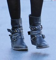 Ashley Tisdale slipped on a pair of studded motorcycle boots.
