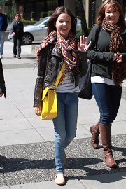 Bailee Madison was spotted roaming around Vancouver wearing a cropped leather jacket.