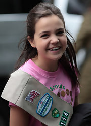 Bailee Madison tied half of her hair up on the set of 'Smile Cookies'.