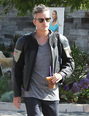 Balthazar Getty looked cool and casual on the streets of Malibu in his black motorcycle jacket.