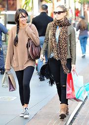 Bar Refaeli stepped out for shopping in LA wearing a leopar print scarf with her casual ensemble.