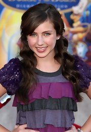 Ryan Newman's chestnut wavy locks were worn half up half down with side swept bangs.