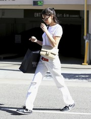 Bella Hadid went low-key in a plain white tee by Re/Done for a day of shopping.