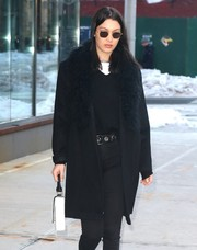 Bella Hadid was spotted out in New York City sporting a pair of square shades by Krewe.