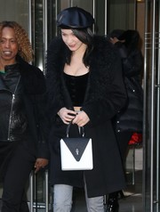 Bella Hadid was Parisian-chic wearing this black leather beret while out in New York City.