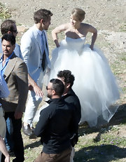 Kimberly Matula was spotted wearing a Vera Wang wedding dress at the set of 'The Bold And The Beautiful.'