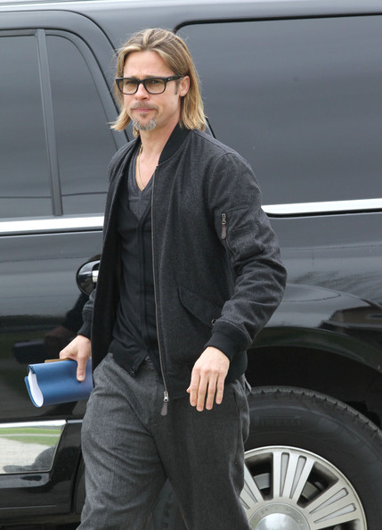 More Pics of Brad Pitt Bomber Jacket (5 of 26) - Brad Pitt Lookbook - StyleBistro