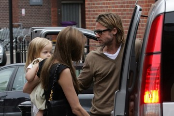 Brad Pitt Zahara Jolie Pitt Brad and Angelina Take the Kids to Smurfs 3D in London