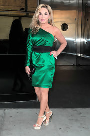 Adrienne Maloof looked oh-so-sophisticated in an emerald-green one-shoulder dress at the Bravo Upfront party.