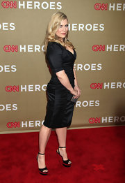 Emily Procter's two-tone platform sandals looked mod with their half-wedge heels.
