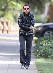 Calista Flockhart sported a black puffer coat while taking a stroll with her mom.