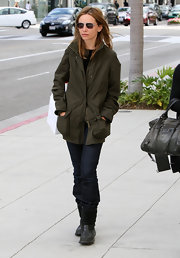 Calista Flockhart opted for a casual but cool green utility jacket for her shopping trip in Beverly Hills.