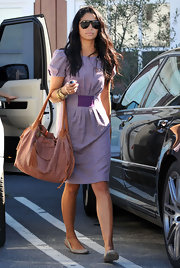 Camila Alves apired her ladylike lavender frock with a brown crinkle Lamb Leather Shopper Tote.