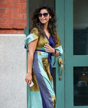 Camila Alves took a walk around New York City wearing oversized square sunnies.