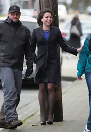 Lana Parrilla looked very business-like on the set of 'Once Upon a Time' in a blue and black skirt suit.