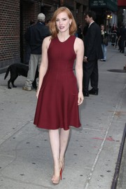 Jessica Chastain arrived for her 'Late Show with Stephen Colbert' appearance wearing a sleeveless burgundy dress, which looked gorgeous against her alabaster skin.