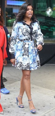Taraji P. Henson visited the ABC Studios looking classic and chic in a rococo-print button-down.