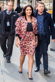 Demi Lovato paired her jacket with a matching pencil skirt.