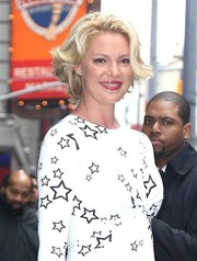Katherine Heigl appeared on 'Good Morning America' wearing her hair in a sweet curled-out bob.