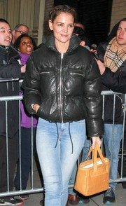 Katie Holmes was spotted outside the AOL Building carrying a camel-colored woven tote by Brooks Brothers.