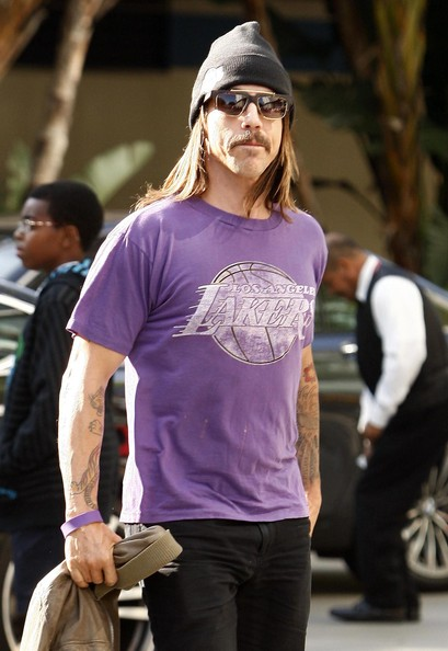 The Red Hot Chili Peppers front man wore funky gold-trimmed shades when he arrived at the Staples Center.