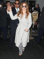 Isla Fisher headed to the 'Today Show' all bundled up in a gray shawl-collar coat by Alice + Olivia.